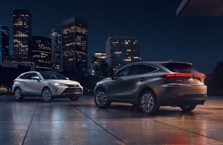 Two 2021 Toyota Venza crossovers parked by each other