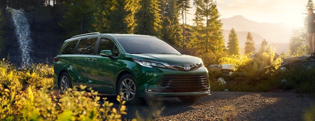 2021 Toyota Sienna with a waterfall in the background