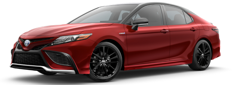 2021 Toyota Camry Hybrid Supersonic Red and Midnight Black Metallic