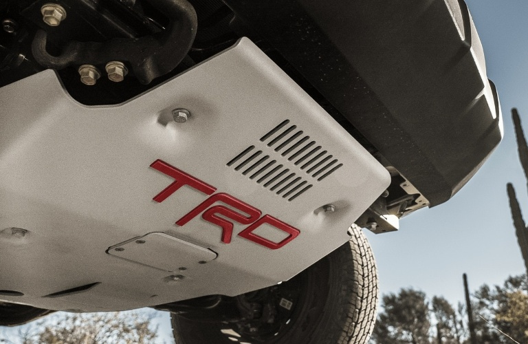 2021 Toyota Tacoma with TRD on the bottom of the truck