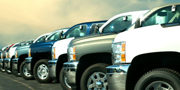 Lineup of trucks at dealership