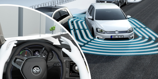 Graphic of White Volkswagen Golf Parking With Steering Wheel and Hands in Lower Left Corner