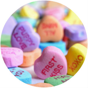 Closeup of candy hearts