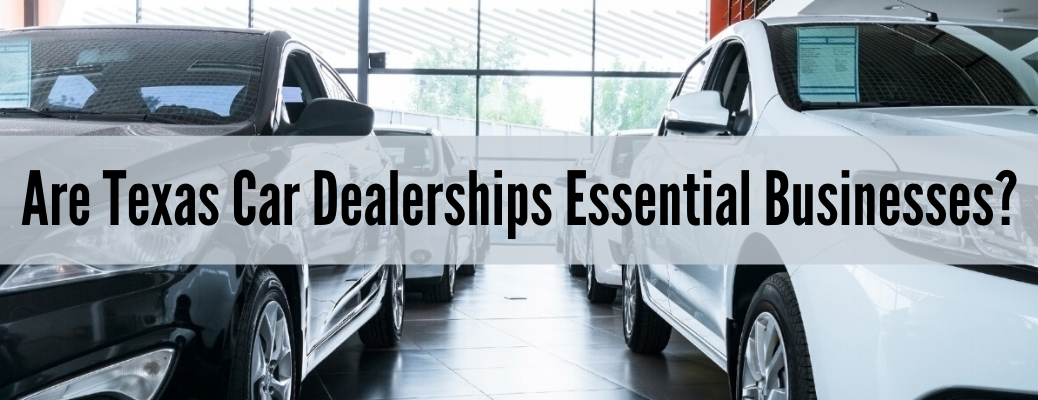 """Closeup of vehicles with """"Are Texas Car Dealerships Essential Businesses?"""" black text"""