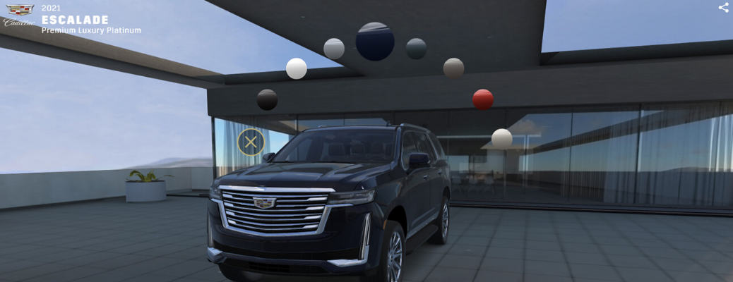 Exterior view of 2021 Cadillac Escalade in visualizer tool