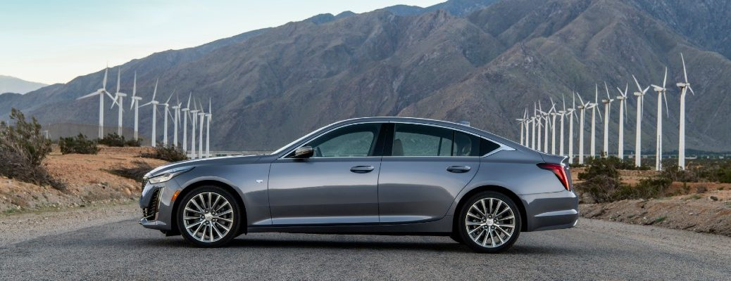 Side view of grey 2020 Cadillac CT5 Premium Luxury