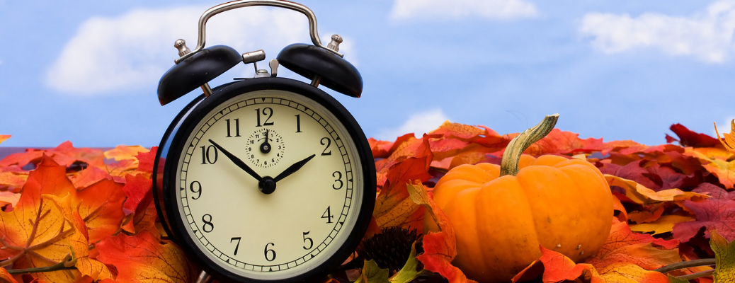 Alarm clock sitting on leaves by small pumpkin