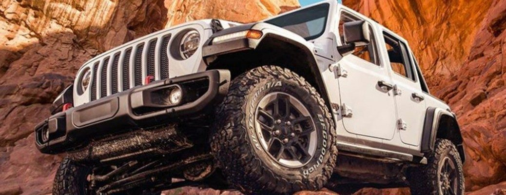 White 2020 Jeep Wrangler out in the wilderness