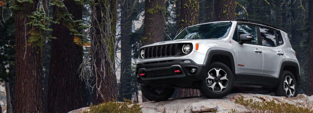 2020 Jeep Renegade parked on a rock