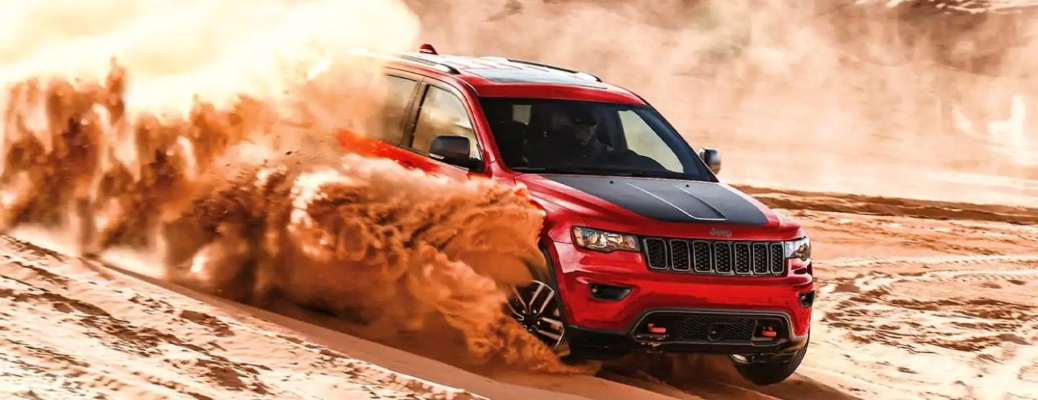 2021 Jeep Grand Cherokee red front side view