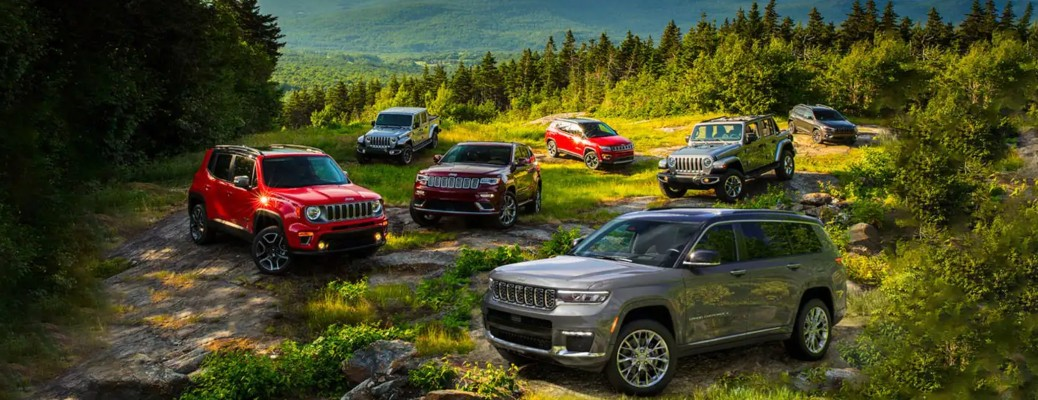 2021 Jeep SUV lineup on top of a mountain