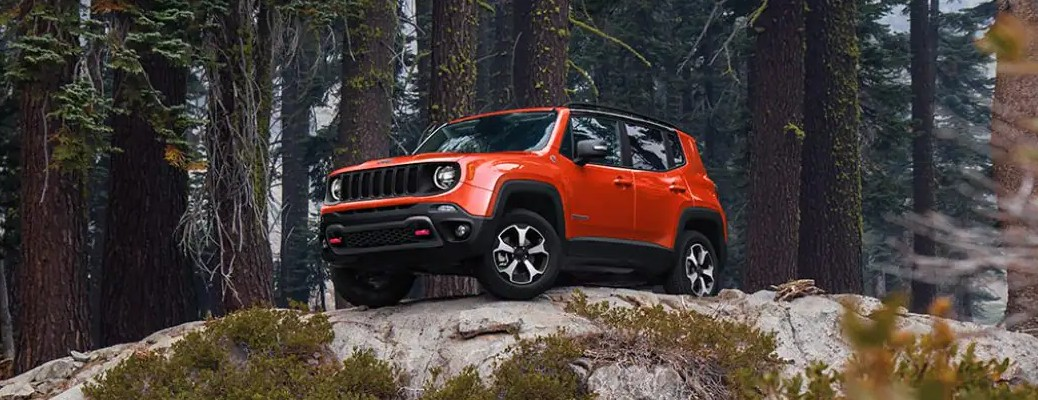 2021 Jeep Renegade red on top of a hill