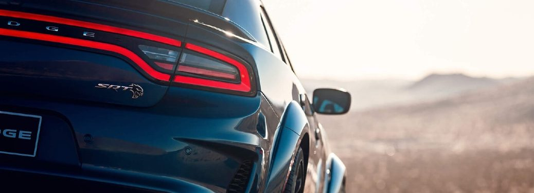 2020 Dodge Charger back end driving into the sunset