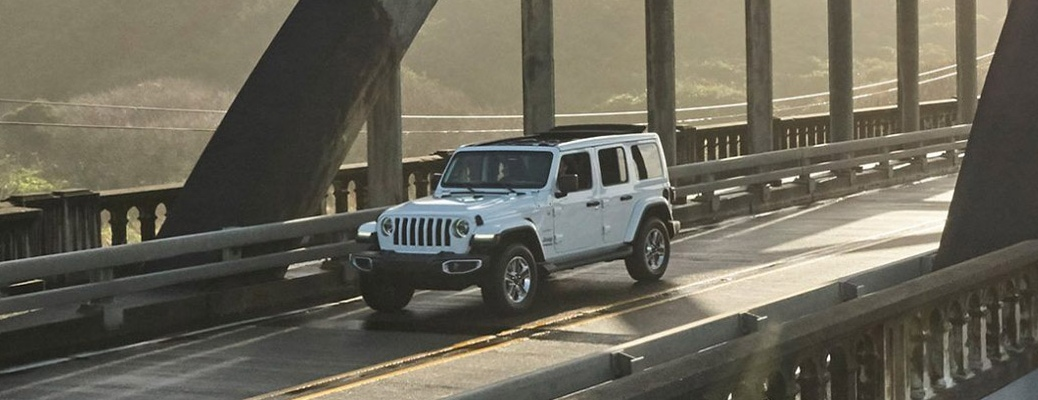 2020 Jeep Wrangler crossing a bridge