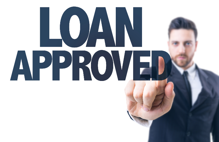 Business man pointing at the words Loan Approved