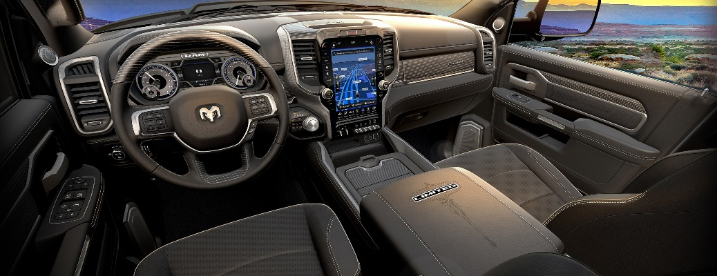 Interior of the 2020 RAM Heavy Duty Limited Black Truck