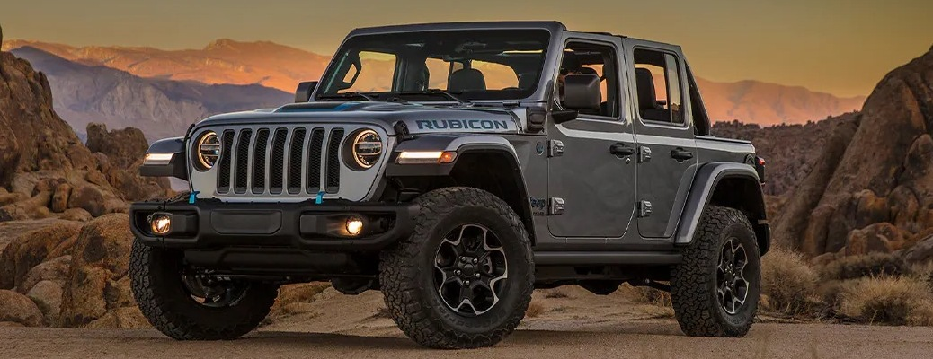2021 Jeep Wrangler 4xe with rocks in the background