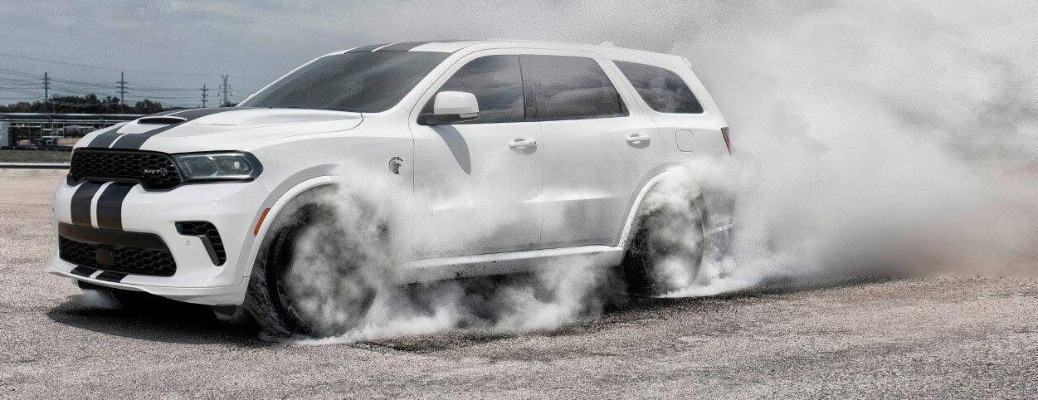 2021 Dodge Durango wit smoke coming from the tires