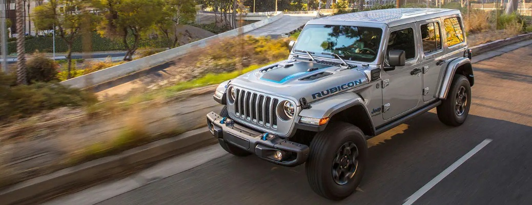 2021 Jeep Wrangler 4xe going down the road
