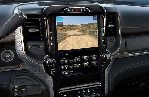 2020 Ram 2500 interior touchscreen with camera display on
