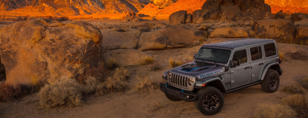 2021 Jeep Wrangler grey exterior parked in desert canyon area