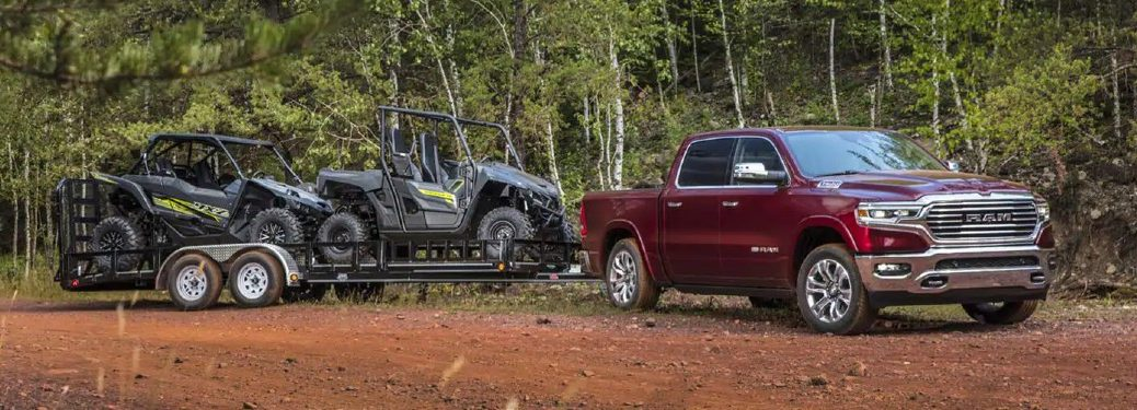 2021 Ram 1500 pulling four wheelers off-road