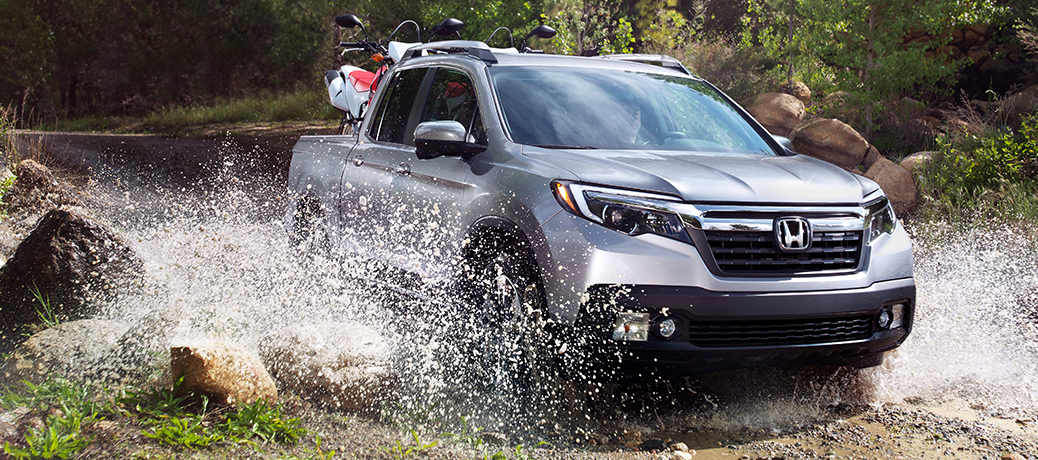 2020 Honda Ridgeline going through a large puddle
