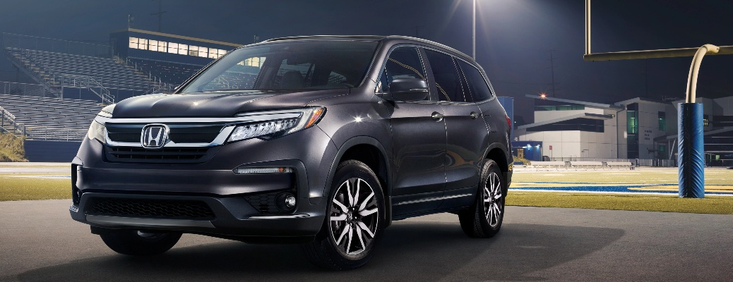 2021 Honda Pilot parked at a football end zone