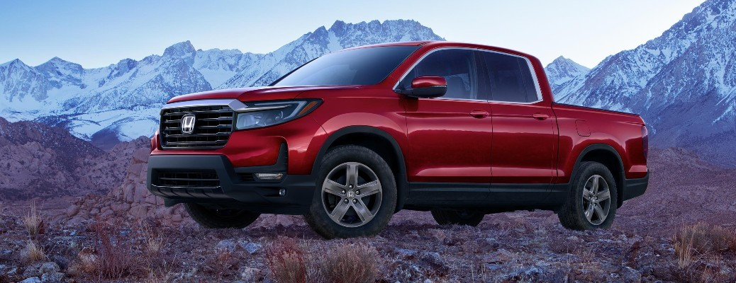 2021 Honda Ridgeline with mountains in the back