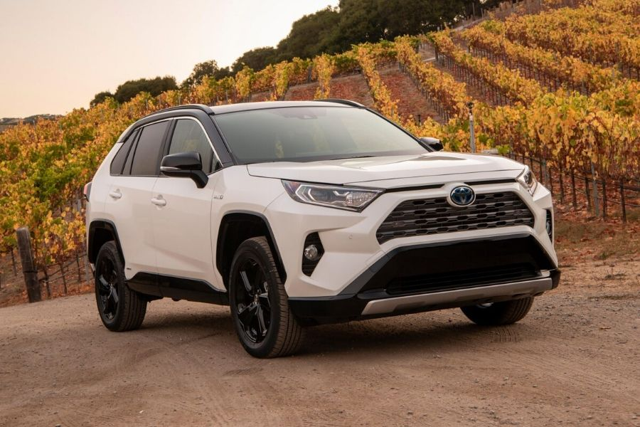 2019 White Toyota RAV4 Hybrid in front of trees