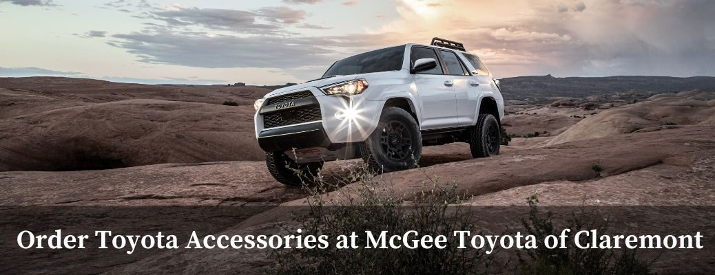 2020 Toyota 4Runner with text under saying Order Toyota Accessories at McGee Toyota of Claremont
