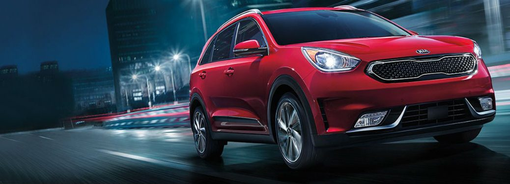 red 2018 Kia Niro driving