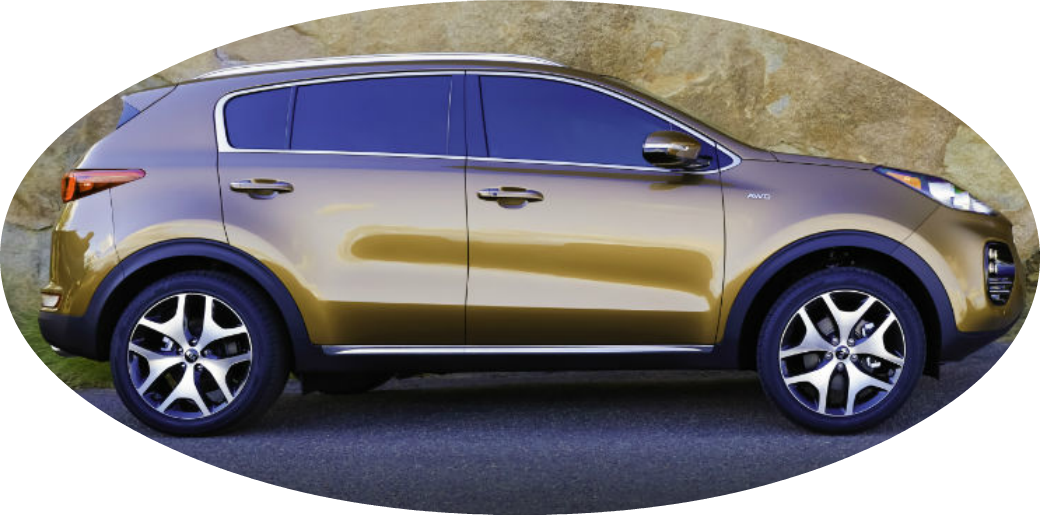 Oval-shaped image featuring the side profile of the 2018 Kia Sportage
