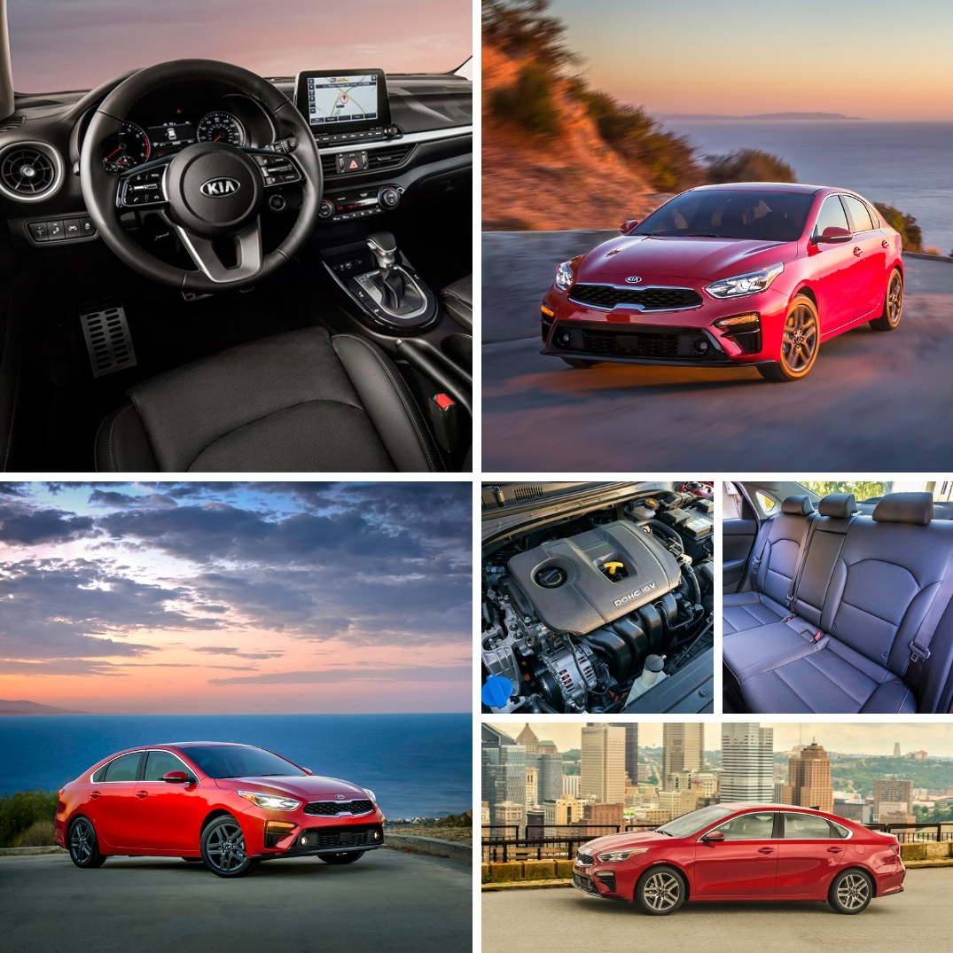 Collage of photos featuring the 2019 Kia Forte