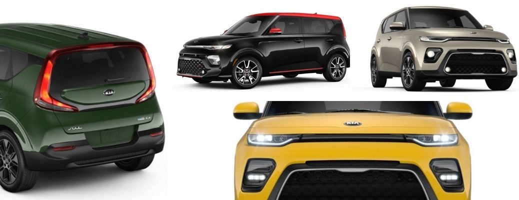 Collage of images that show a sample of available colors for the 2020 Kia Soul