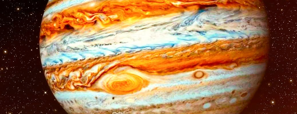 Close-up image of planet Jupiter with its storm spot