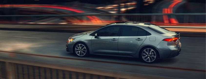 Exterior view of a gray 2020 Toyota Corolla