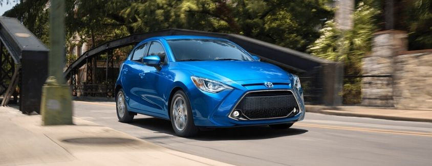 Exterior view of a blue 2020 Toyota Yaris Hatchback
