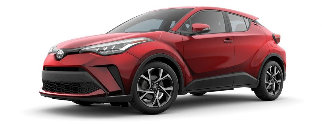 Front/side profile of red 2020 Toyota C-HR