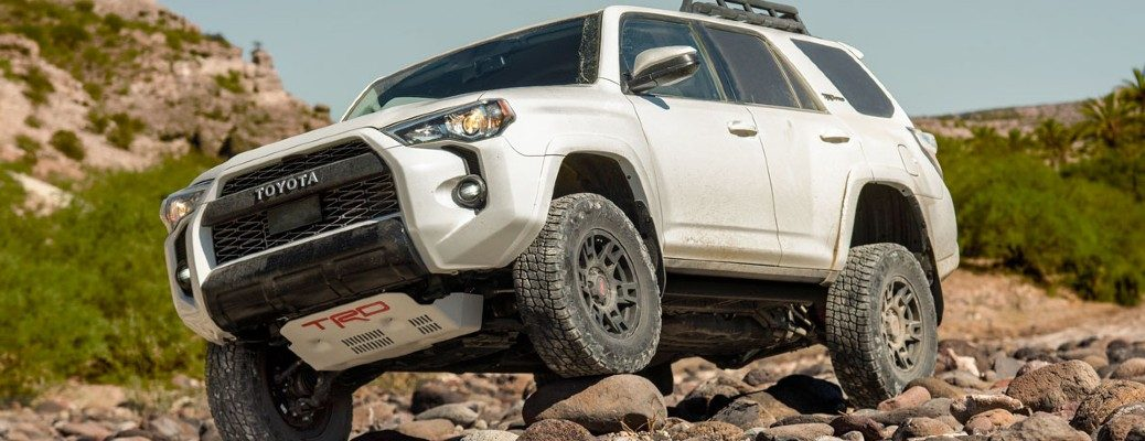 White 2020 Toyota 4Runner on a rocky trail