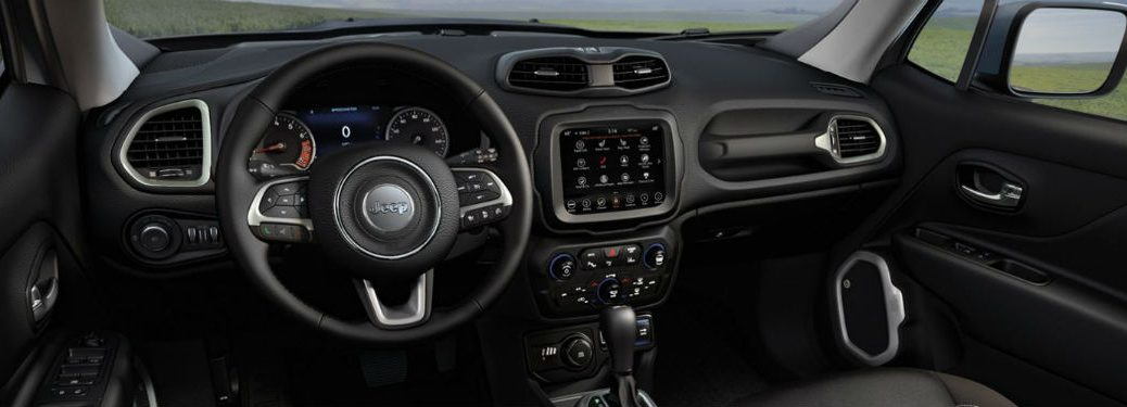 2020 Jeep Renegade interior front cabin steering wheel and dashboard
