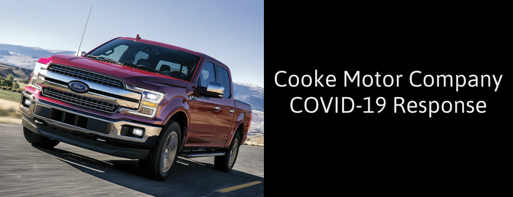 Cooke Motor Company COVID-19 Response title and a red 2020 Ford F-150