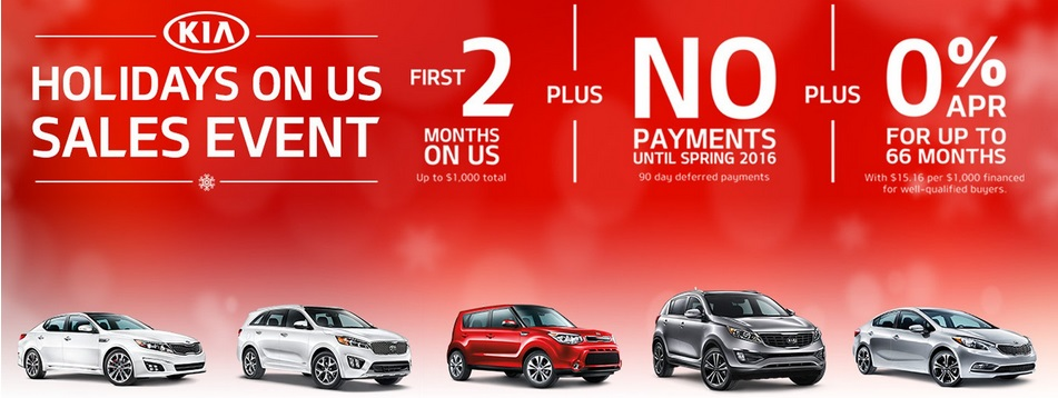 Kia Holidays on Us Sales Special Kia Optima Soul Forte Sorento Sportage 0 percent five months free New Port Richey Tampa Clearwater Spring Hill Trinity Clearwater FL