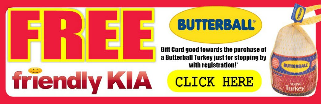 Thanksgiving gift card promotion turkey Butterball Friendly Kia New Port Richey Clearwater Spring Hill Tampa FL