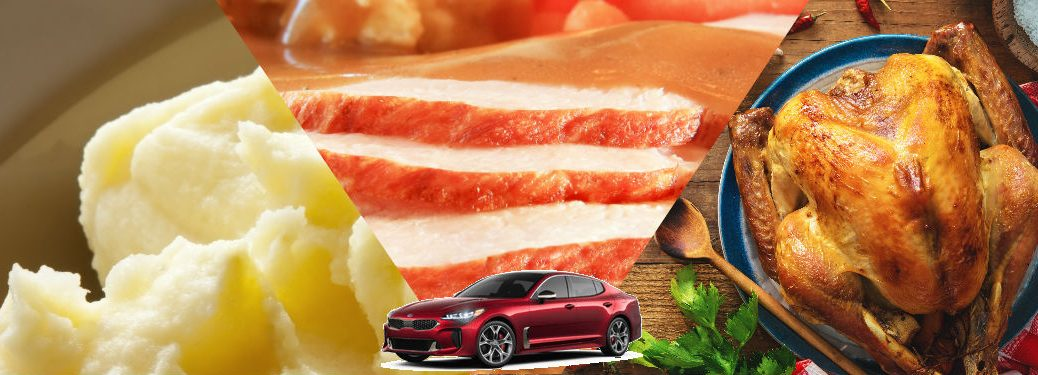 collage of holiday foods with 2018 kia stinger superimposed on bottom