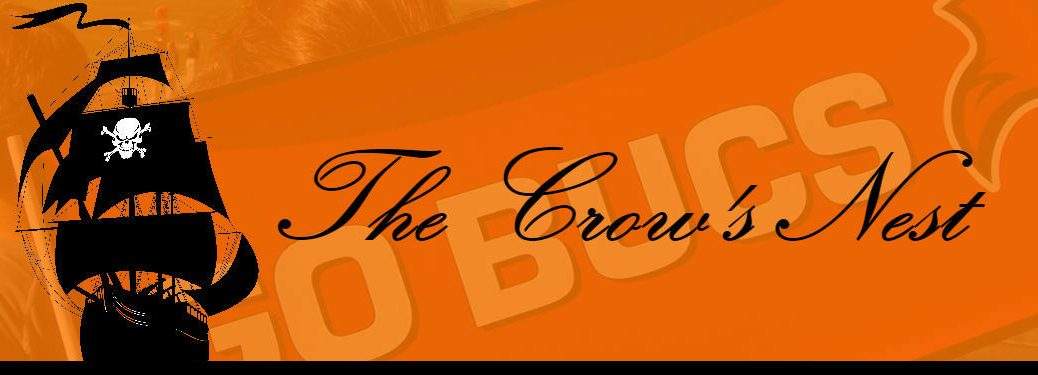 header image for the crows nest showing pirate ship and go bucs banner