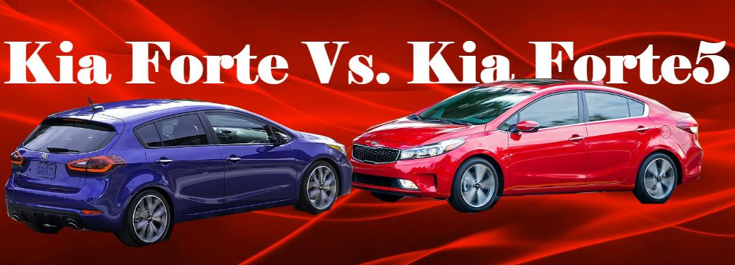 2018 kia and 2018 kia forte5 seen against red stylized swirly background