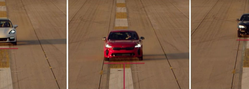 screen shot of video where 2018 kia stinger bests porsche and bmw for acceleration