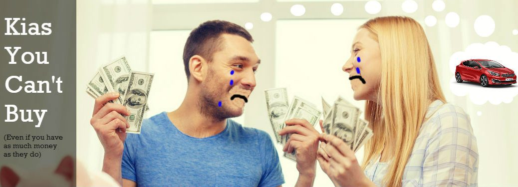 couple holding money with sad photoshopped faces and Kia pro_cee'd in thought bubble