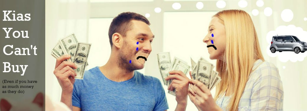 Kias you Can't Buy in the US banner with couple holding money and crying while sharing thought bubble feat. Kia Ray